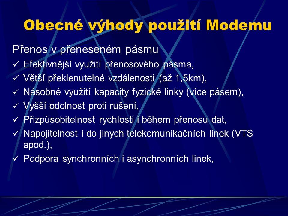 Analogový okruh Sériová linka Sériový asyn přenos dat v základním pásmu, Běžně využíván do 64kb/s (limit rozhraní 112,5kb/s) Komunikační protokol dle normy ITU V.24 (analogie RS232 v USA).