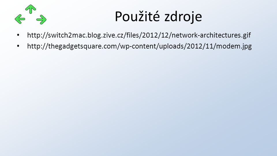http://switch2mac.blog.zive.cz/files/2012/12/network-architectures.gif http://thegadgetsquare.com/wp-content/uploads/2012/11/modem.jpg Použité zdroje