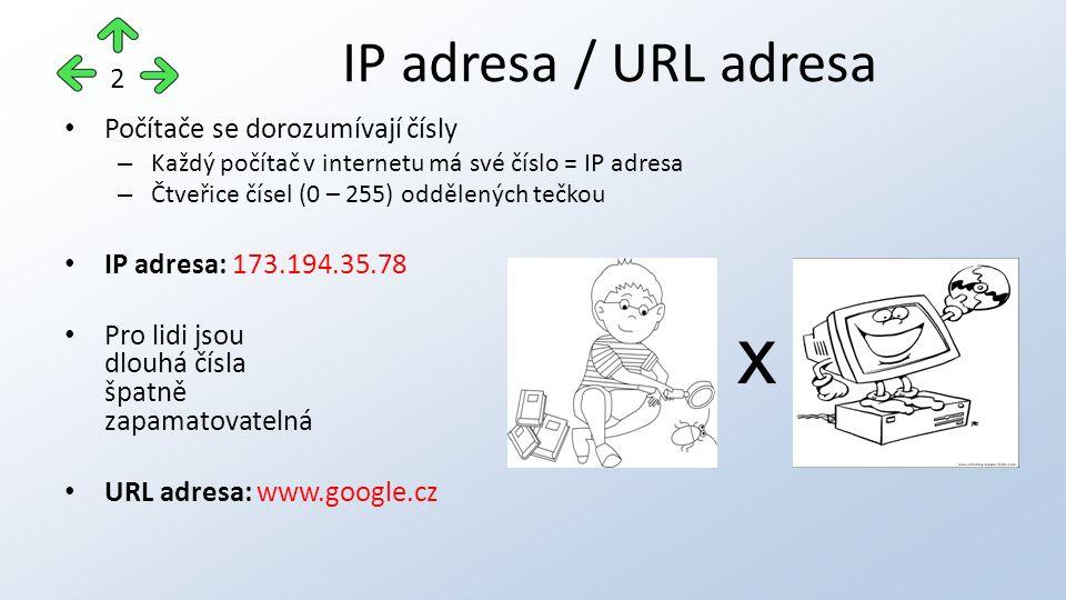 Domain Name Server Centrála, která zajistí převod mezi URL adresou a IP adresou DNS server 3 10.20.4.40 240.6.1.32 12.34.51.200 85.207.13.201 1.5.66.196 12.54.221.22 15.14.11.245 www.oajl.cz 85.207.13.201