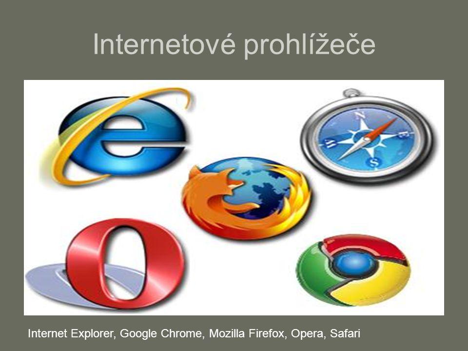 Internetové prohlížeče Internet Explorer, Google Chrome, Mozilla Firefox, Opera, Safari