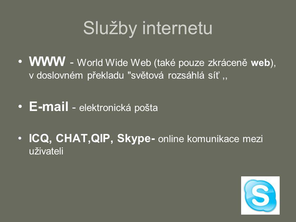 Služby internetu WWW - World Wide Web (také pouze zkráceně web), v doslovném překladu