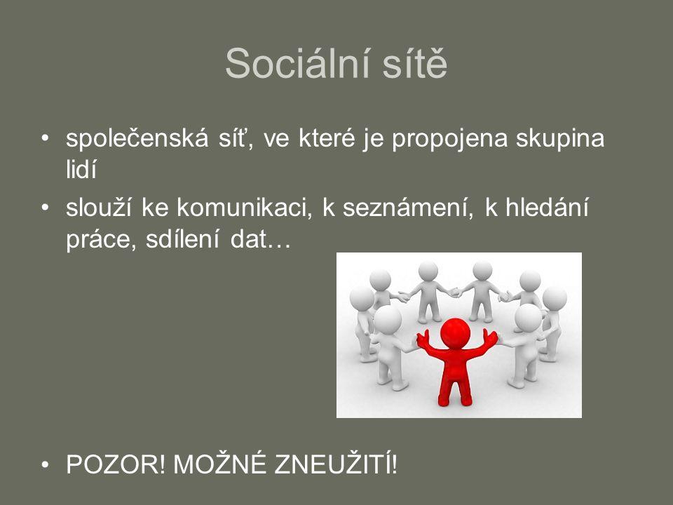 Sociální sítě společenská síť, ve které je propojena skupina lidí slouží ke komunikaci, k seznámení, k hledání práce, sdílení dat… POZOR! MOŽNÉ ZNEUŽI