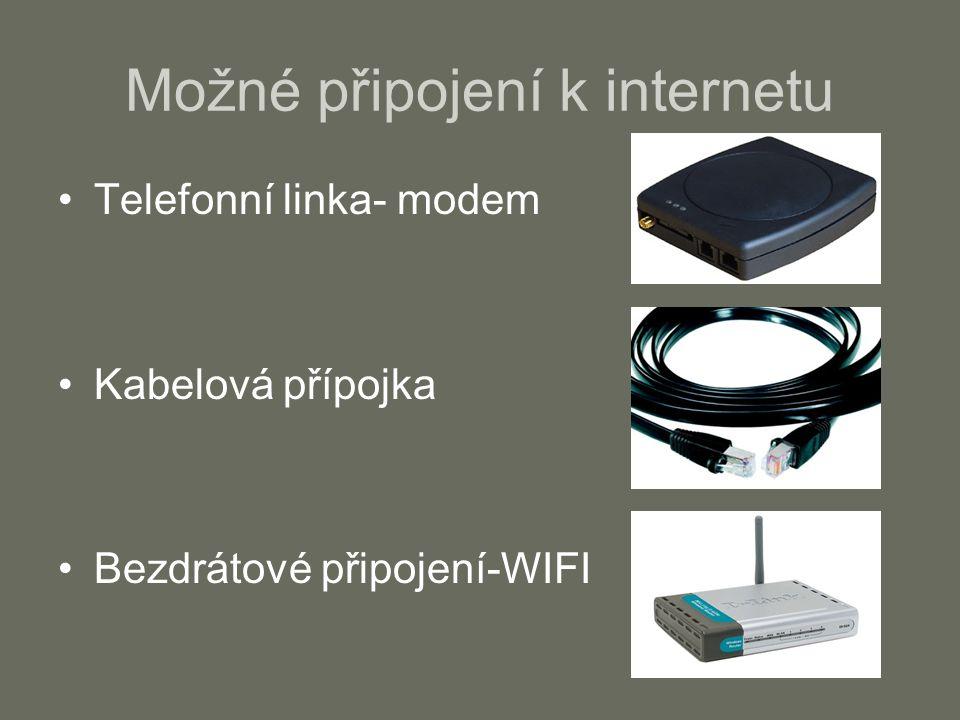Možné připojení k internetu Telefonní linka- modem Kabelová přípojka Bezdrátové připojení-WIFI