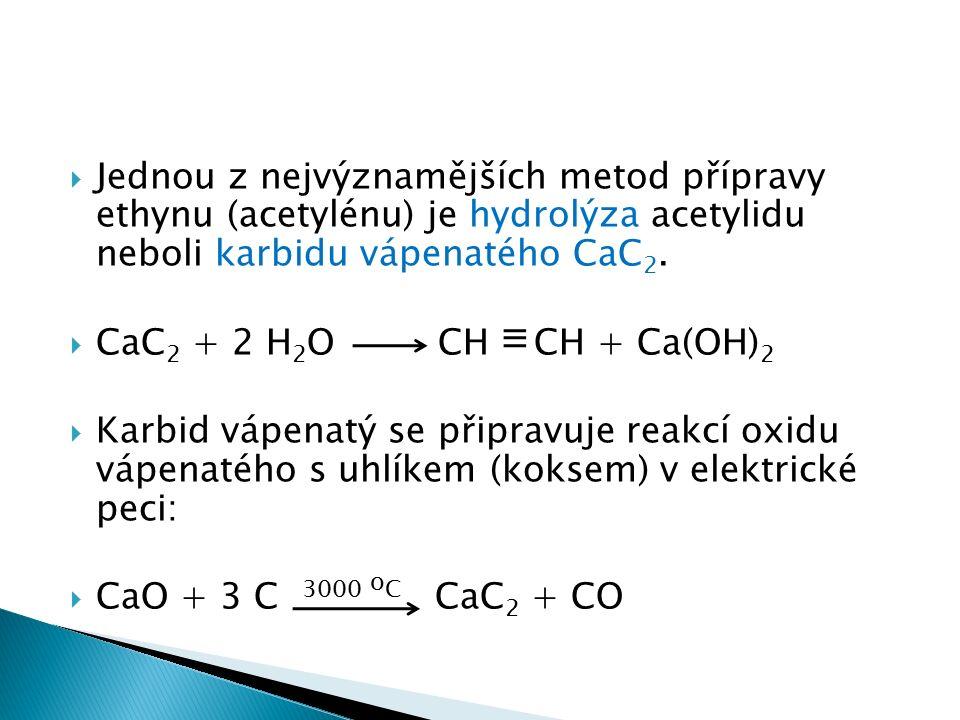 Jednou z nejvýznamějších metod přípravy ethynu (acetylénu) je hydrolýza acetylidu neboli karbidu vápenatého CaC 2.
