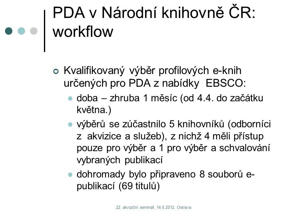 22. akviziční seminář, 14.6.2012, Ostrava PDA v Národní knihovně ČR: workflow Kvalifikovaný výběr profilových e-knih určených pro PDA z nabídky EBSCO: