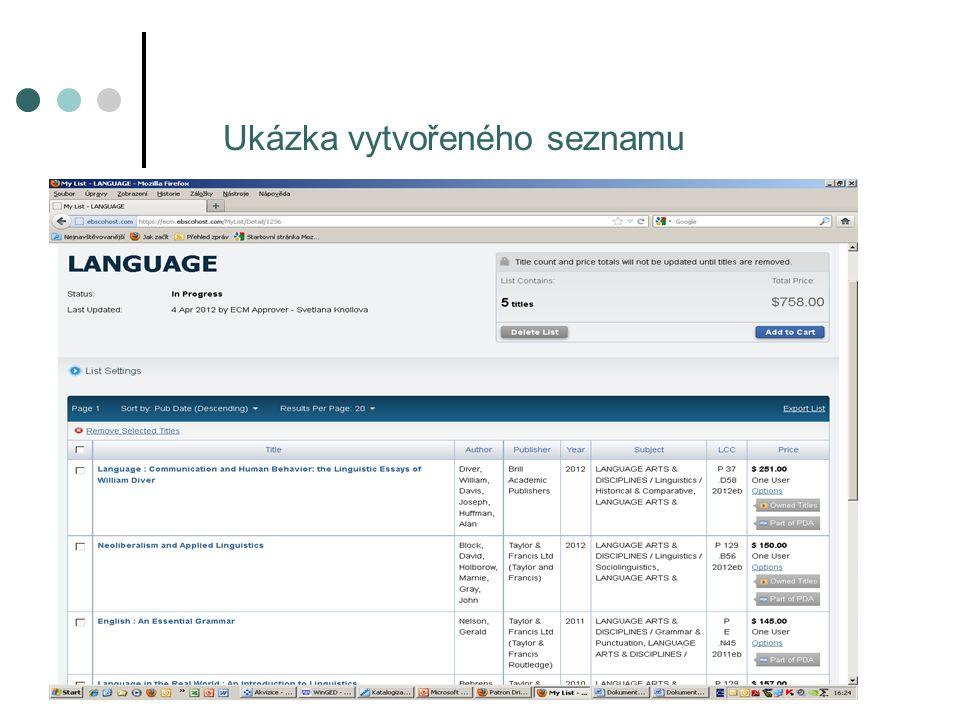 22. akviziční seminář, 14.6.2012, Ostrava Ukázka vytvořeného seznamu