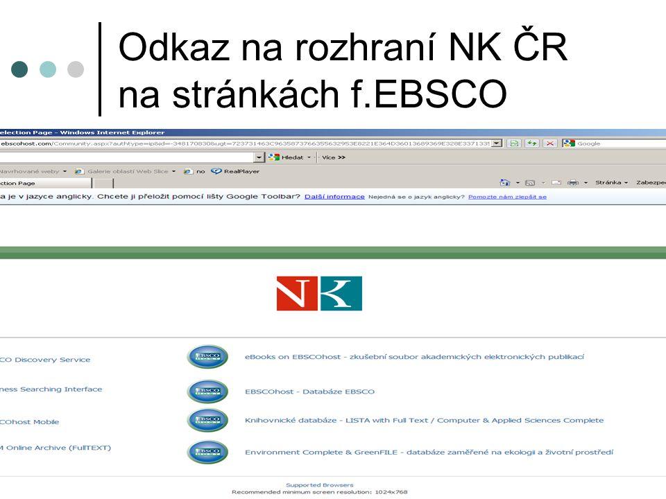 Odkaz na rozhraní NK ČR na stránkách f.EBSCO
