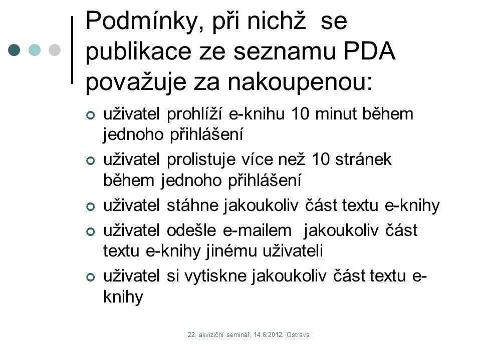 22. akviziční seminář, 14.6.2012, Ostrava Podmínky, při nichž se publikace ze seznamu PDA považuje za nakoupenou: uživatel prohlíží e-knihu 10 minut b