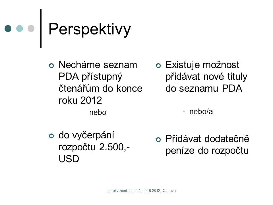 Perspektivy Necháme seznam PDA přístupný čtenářům do konce roku 2012 nebo do vyčerpání rozpočtu 2.500,- USD Existuje možnost přidávat nové tituly do seznamu PDA nebo/a Přidávat dodatečně peníze do rozpočtu
