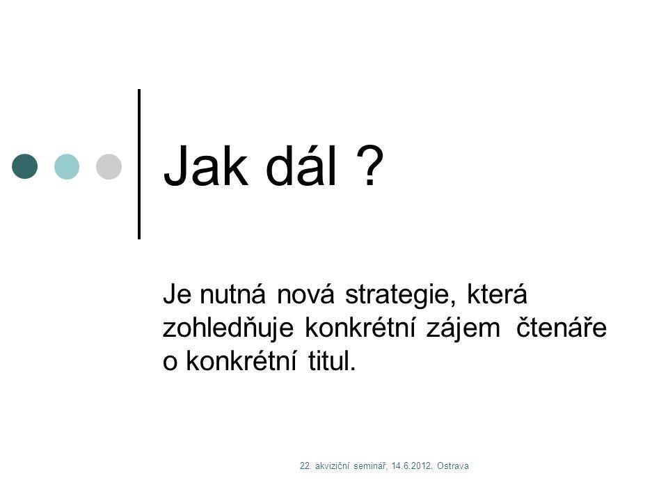 22. akviziční seminář, 14.6.2012, Ostrava Jak dál ? Je nutná nová strategie, která zohledňuje konkrétní zájem čtenáře o konkrétní titul.