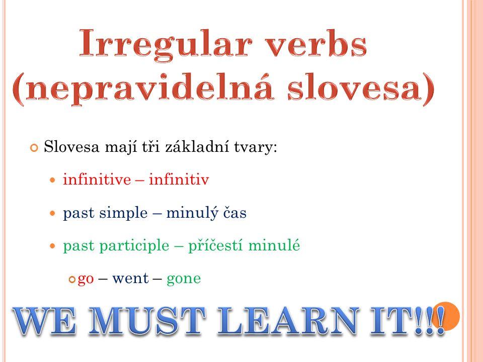 Slovesa mají tři základní tvary: infinitive – infinitiv past simple – minulý čas past participle – příčestí minulé go – went – gone