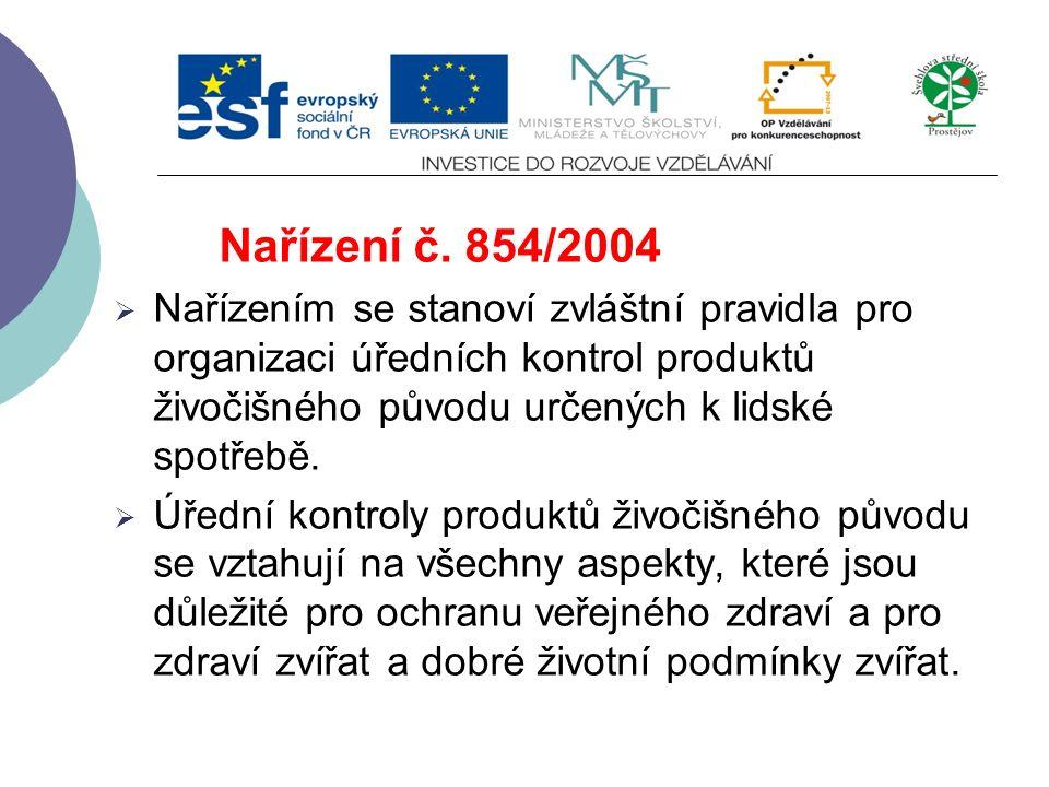 Nařízení č. 853/2004  Tyto zásady tvoří společný základ pro hygienickou výrobu potravin živočišného původu.