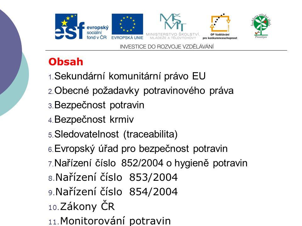 Slide 2…atd Obsah 1.Sekundární komunitární právo EU 2.