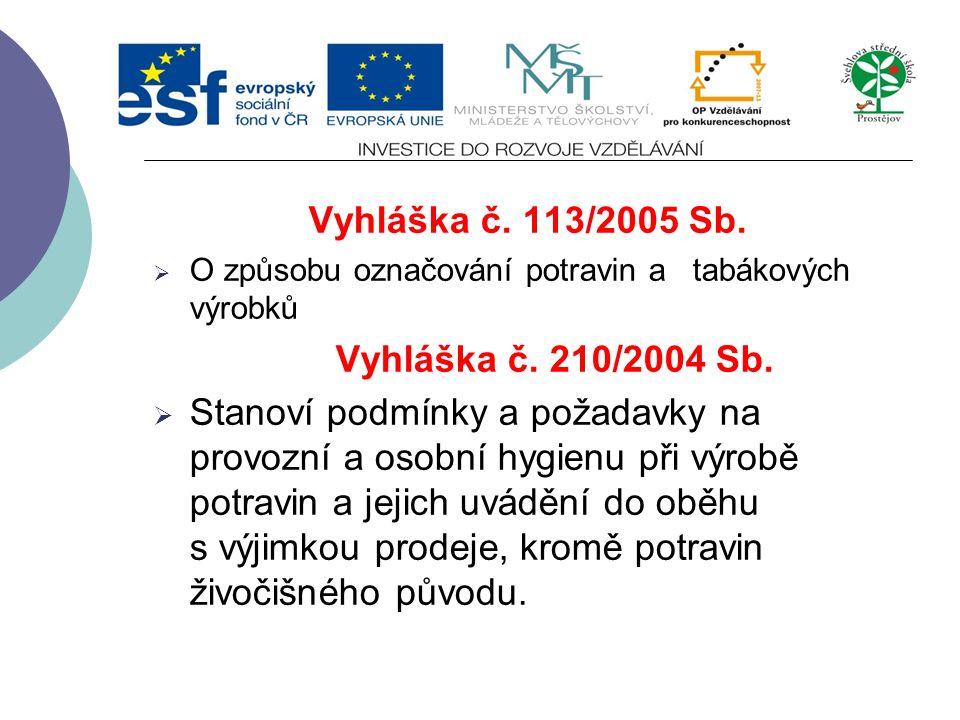 Zákony ČR Zákon č.110/1997 Sb. o potravinách a tabákových výrobcích Obsahová náplň zákona je následující:  Balení potravin  Označování potravin  Uv