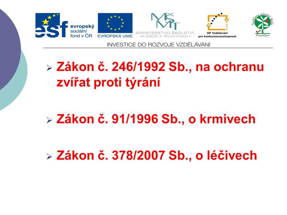 Vyhláška č. 113/2005 Sb.  O způsobu označování potravin a tabákových výrobků Vyhláška č. 210/2004 Sb.  Stanoví podmínky a požadavky na provozní a os