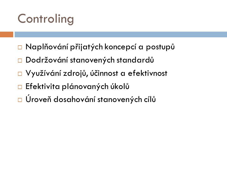 Controling  Naplňování přijatých koncepcí a postupů  Dodržování stanovených standardů  Využívání zdrojů, účinnost a efektivnost  Efektivita plánovaných úkolů  Úroveň dosahování stanovených cílů