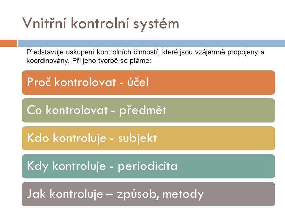 Vnitřní kontrolní systém Proč kontrolovat - účelCo kontrolovat - předmětKdo kontroluje - subjektKdy kontroluje - periodicitaJak kontroluje – způsob, metody Představuje uskupení kontrolních činností, které jsou vzájemně propojeny a koordinovány.