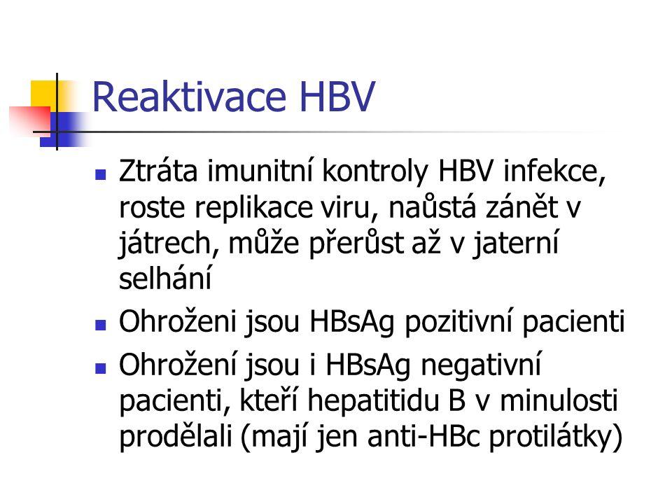 Reaktivace HBV Ztráta imunitní kontroly HBV infekce, roste replikace viru, naůstá zánět v játrech, může přerůst až v jaterní selhání Ohroženi jsou HBs