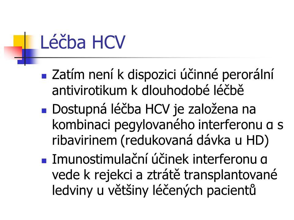 Léčba HCV Zatím není k dispozici účinné perorální antivirotikum k dlouhodobé léčbě Dostupná léčba HCV je založena na kombinaci pegylovaného interferon