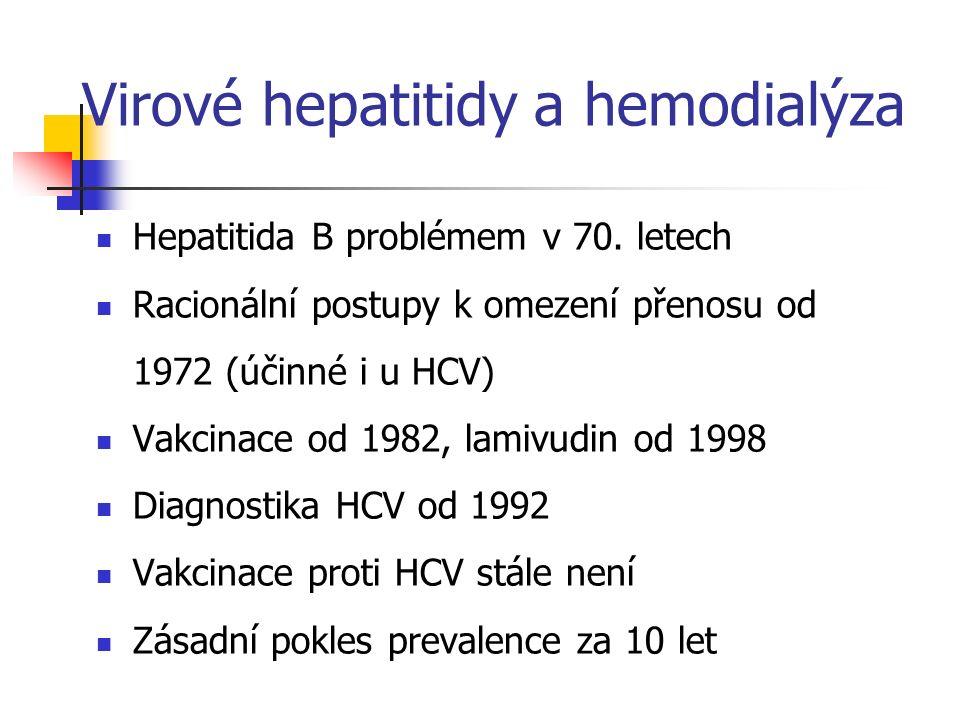 Virové hepatitidy a hemodialýza Hepatitida B problémem v 70. letech Racionální postupy k omezení přenosu od 1972 (účinné i u HCV) Vakcinace od 1982, l