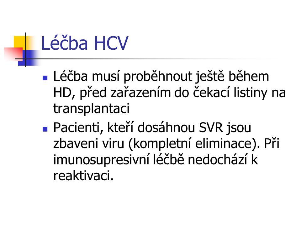 Léčba HCV Léčba musí proběhnout ještě během HD, před zařazením do čekací listiny na transplantaci Pacienti, kteří dosáhnou SVR jsou zbaveni viru (komp