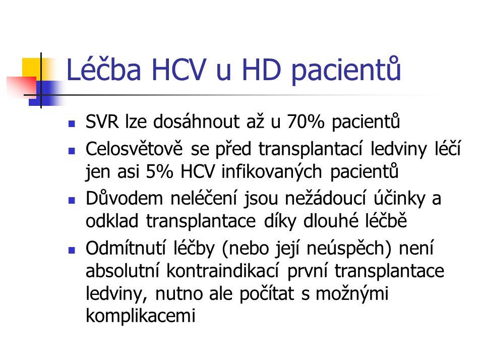 Léčba HCV u HD pacientů SVR lze dosáhnout až u 70% pacientů Celosvětově se před transplantací ledviny léčí jen asi 5% HCV infikovaných pacientů Důvode