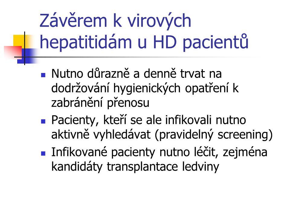 Závěrem k virových hepatitidám u HD pacientů Nutno důrazně a denně trvat na dodržování hygienických opatření k zabránění přenosu Pacienty, kteří se al