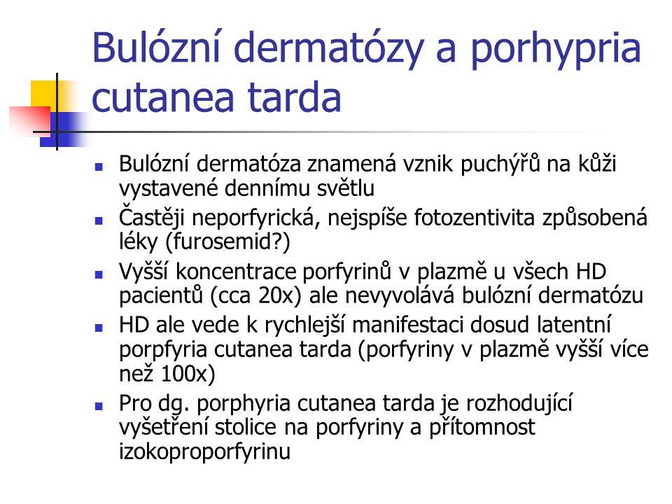 Bulózní dermatózy a porhypria cutanea tarda Bulózní dermatóza znamená vznik puchýřů na kůži vystavené dennímu světlu Častěji neporfyrická, nejspíše fo