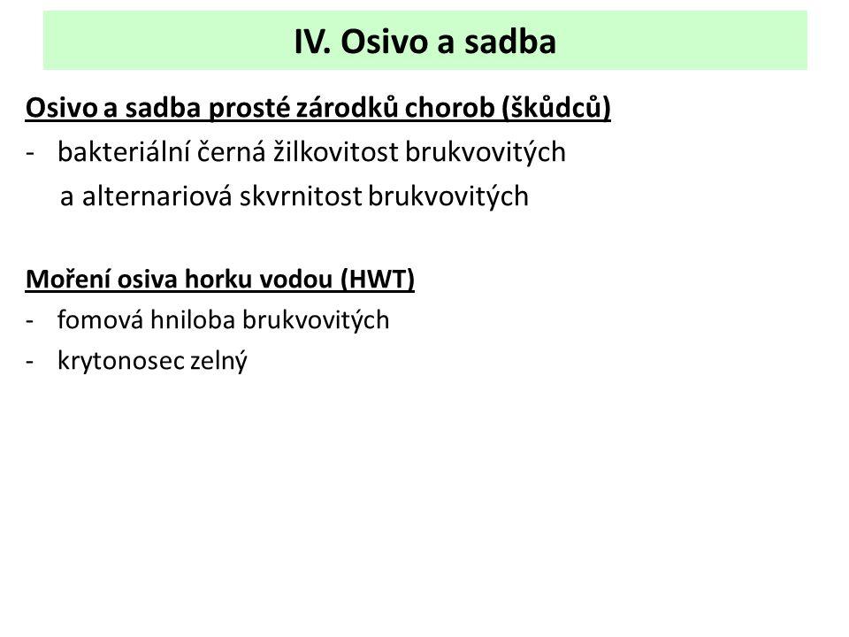 IV. Osivo a sadba Osivo a sadba prosté zárodků chorob (škůdců) -bakteriální černá žilkovitost brukvovitých a alternariová skvrnitost brukvovitých Moře