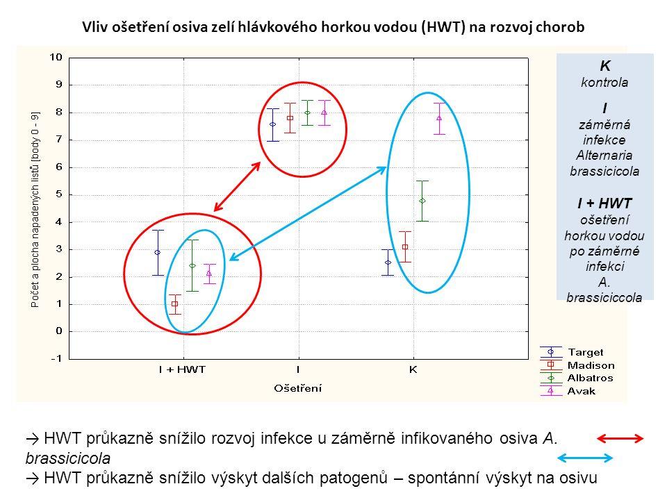 Vliv ošetření osiva zelí hlávkového horkou vodou (HWT) na rozvoj chorob → HWT průkazně snížilo rozvoj infekce u záměrně infikovaného osiva A.