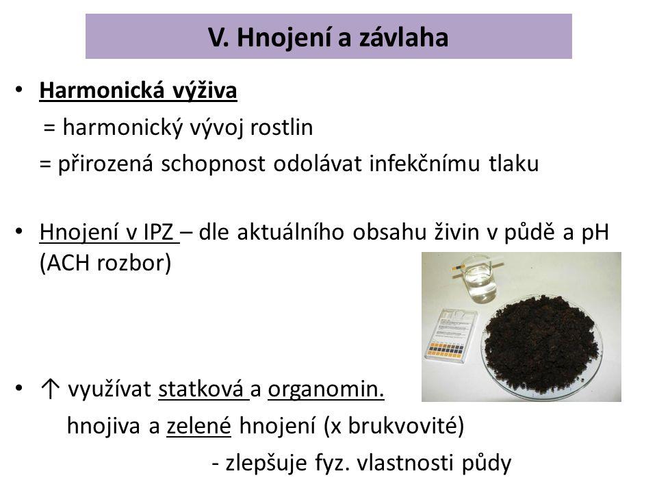 V. Hnojení a závlaha Harmonická výživa = harmonický vývoj rostlin = přirozená schopnost odolávat infekčnímu tlaku Hnojení v IPZ – dle aktuálního obsah