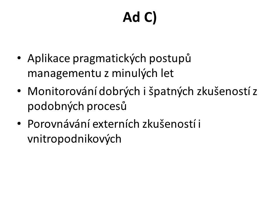 Ad C) Aplikace pragmatických postupů managementu z minulých let Monitorování dobrých i špatných zkušeností z podobných procesů Porovnávání externích zkušeností i vnitropodnikových