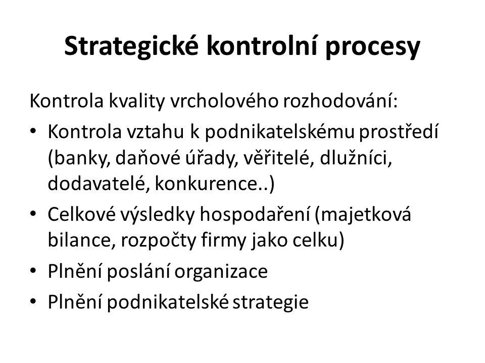 Strategické kontrolní procesy Kontrola kvality vrcholového rozhodování: Kontrola vztahu k podnikatelskému prostředí (banky, daňové úřady, věřitelé, dlužníci, dodavatelé, konkurence..) Celkové výsledky hospodaření (majetková bilance, rozpočty firmy jako celku) Plnění poslání organizace Plnění podnikatelské strategie