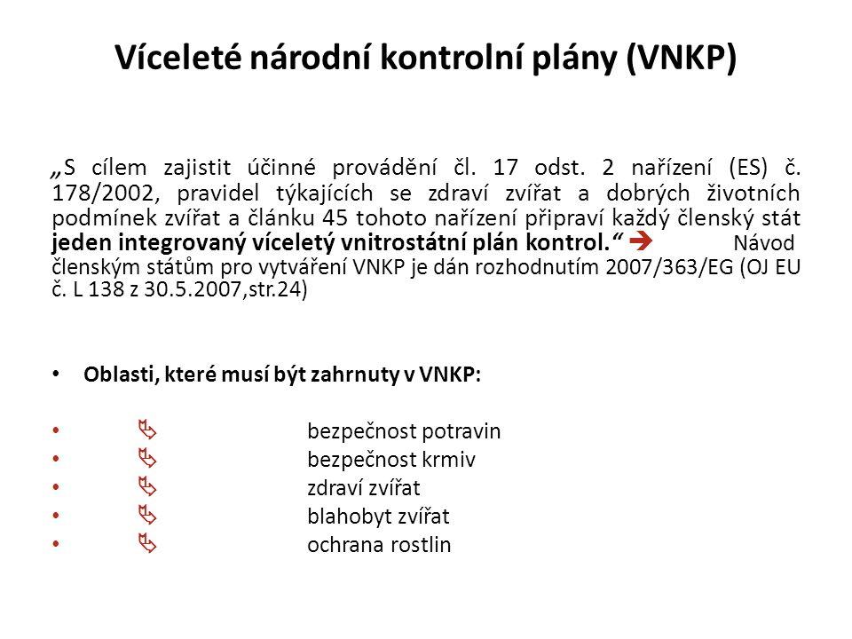 """Víceleté národní kontrolní plány (VNKP) """" S cílem zajistit účinné provádění čl."""