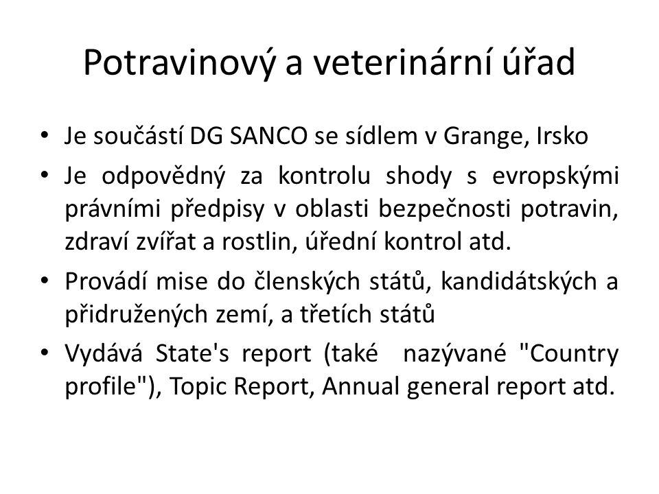 Potravinový a veterinární úřad Je součástí DG SANCO se sídlem v Grange, Irsko Je odpovědný za kontrolu shody s evropskými právními předpisy v oblasti bezpečnosti potravin, zdraví zvířat a rostlin, úřední kontrol atd.