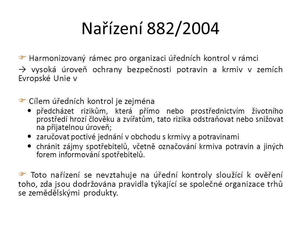 Nařízení 882/2004  Harmonizovaný rámec pro organizaci úředních kontrol v rámci → vysoká úroveň ochrany bezpečnosti potravin a krmiv v zemích Evropské Unie v  Cílem úředních kontrol je zejména předcházet rizikům, která přímo nebo prostřednictvím životního prostředí hrozí člověku a zvířatům, tato rizika odstraňovat nebo snižovat na přijatelnou úroveň; zaručovat poctivé jednání v obchodu s krmivy a potravinami chránit zájmy spotřebitelů, včetně označování krmiva potravin a jiných forem informování spotřebitelů.