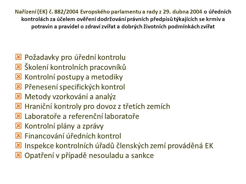 Nařízení (EK) č. 882/2004 Evropského parlamentu a rady z 29.