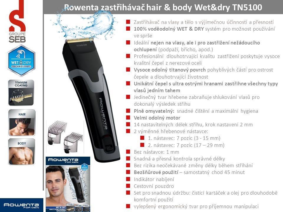 Zastřihávač na vlasy a tělo s výjimečnou účinností a přesností 100% voděodolný WET & DRY systém pro možnost používání ve sprše Ideální nejen na vlasy, ale i pro zastřižení nežádoucího ochlupení (podpaží, břicho, apod.) Profesionální dlouhotrvající kvalitu zastřižení poskytuje vysoce kvalitní čepel z nerezové oceli Vysoce odolný titanový povrch pohyblivých částí pro ostrost čepele a dlouhotrvající životnost Unikátní čepel s ultra ostrými hranami zastřihne všechny typy vlasů jedním tahem Jedinečný tvar hřebene zabraňuje shlukování vlasů pro dokonalý výsledek střihu Plně omyvatelný: snadné čištění a maximální hygiena Velmi odolný motor 14 nastavitelných délek střihu, krok nastavení 2 mm 2 výměnné hřebenové nástavce: 1.