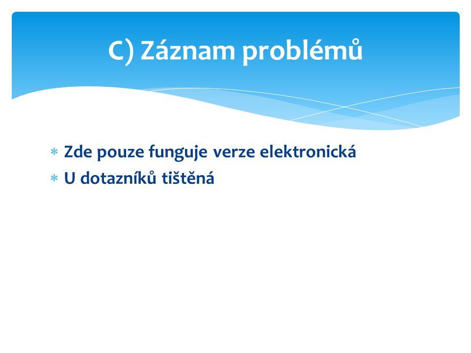  Zde pouze funguje verze elektronická  U dotazníků tištěná C) Záznam problémů