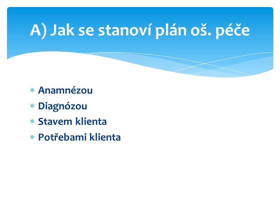  Anamnézou  Diagnózou  Stavem klienta  Potřebami klienta A) Jak se stanoví plán oš. péče