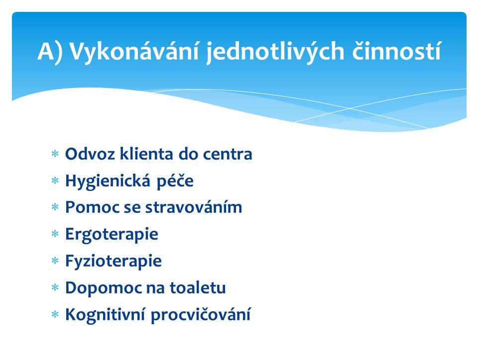  Odvoz klienta do centra  Hygienická péče  Pomoc se stravováním  Ergoterapie  Fyzioterapie  Dopomoc na toaletu  Kognitivní procvičování A) Vykonávání jednotlivých činností