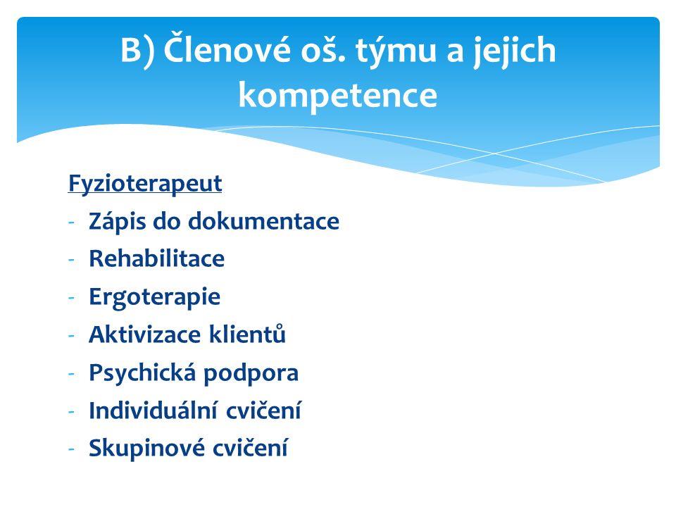 Fyzioterapeut -Zápis do dokumentace -Rehabilitace -Ergoterapie -Aktivizace klientů -Psychická podpora -Individuální cvičení -Skupinové cvičení B) Členové oš.