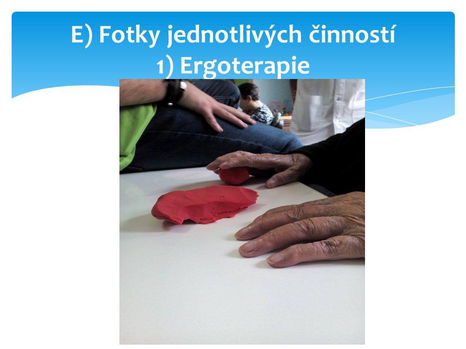 E) Fotky jednotlivých činností 1) Ergoterapie