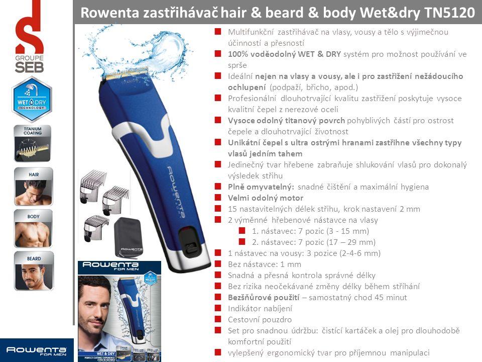 Rowenta zastřihávač hair & beard & body Wet&dry TN5120 Multifunkční zastřihávač na vlasy, vousy a tělo s výjimečnou účinností a přesností 100% voděodolný WET & DRY systém pro možnost používání ve sprše Ideální nejen na vlasy a vousy, ale i pro zastřižení nežádoucího ochlupení (podpaží, břicho, apod.) Profesionální dlouhotrvající kvalitu zastřižení poskytuje vysoce kvalitní čepel z nerezové oceli Vysoce odolný titanový povrch pohyblivých částí pro ostrost čepele a dlouhotrvající životnost Unikátní čepel s ultra ostrými hranami zastřihne všechny typy vlasů jedním tahem Jedinečný tvar hřebene zabraňuje shlukování vlasů pro dokonalý výsledek střihu Plně omyvatelný: snadné čištění a maximální hygiena Velmi odolný motor 15 nastavitelných délek střihu, krok nastavení 2 mm 2 výměnné hřebenové nástavce na vlasy 1.