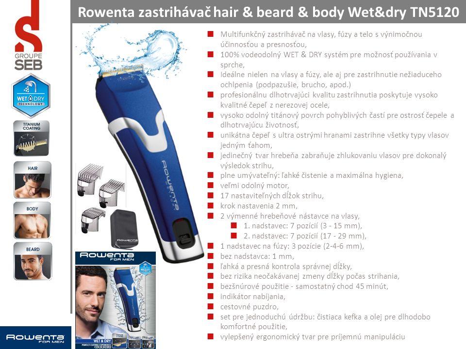 Rowenta zastrihávač hair & beard & body Wet&dry TN5120 Multifunkčný zastrihávač na vlasy, fúzy a telo s výnimočnou účinnosťou a presnosťou, 100% vodeodolný WET & DRY systém pre možnosť používania v sprche, Ideálne nielen na vlasy a fúzy, ale aj pre zastrihnutie nežiaduceho ochlpenia (podpazušie, brucho, apod.) profesionálnu dlhotrvajúci kvalitu zastrihnutia poskytuje vysoko kvalitné čepeľ z nerezovej ocele, vysoko odolný titánový povrch pohyblivých častí pre ostrosť čepele a dlhotrvajúcu životnosť, unikátna čepeľ s ultra ostrými hranami zastrihne všetky typy vlasov jedným ťahom, jedinečný tvar hrebeňa zabraňuje zhlukovaniu vlasov pre dokonalý výsledok strihu, plne umývateľný: ľahké čistenie a maximálna hygiena, veľmi odolný motor, 17 nastaviteľných dĺžok strihu, krok nastavenia 2 mm, 2 výmenné hrebeňové nástavce na vlasy, 1.