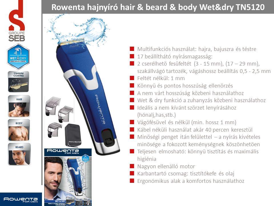 Rowenta hajnyíró hair & beard & body Wet&dry TN5120 Multifunkciós használat: hajra, bajuszra és téstre 17 beállíthátó nyírásmagasság: 2 cserélhetö fesüfeltét (3 - 15 mm), (17 – 29 mm), szakállvágó tartozék, vágáshossz beállítás 0,5 - 2,5 mm Feltét nélkül: 1 mm Könnyü és pontos hosszúság ellenörzés A nem várt hosszúság közbeni használathoz Wet & dry funkció a zuhanyzás közbeni használathoz Ideális a nem kívánt szörzet lenyírásához (hónalj,has,stb.) Vágófésüvel és nélkül (min.
