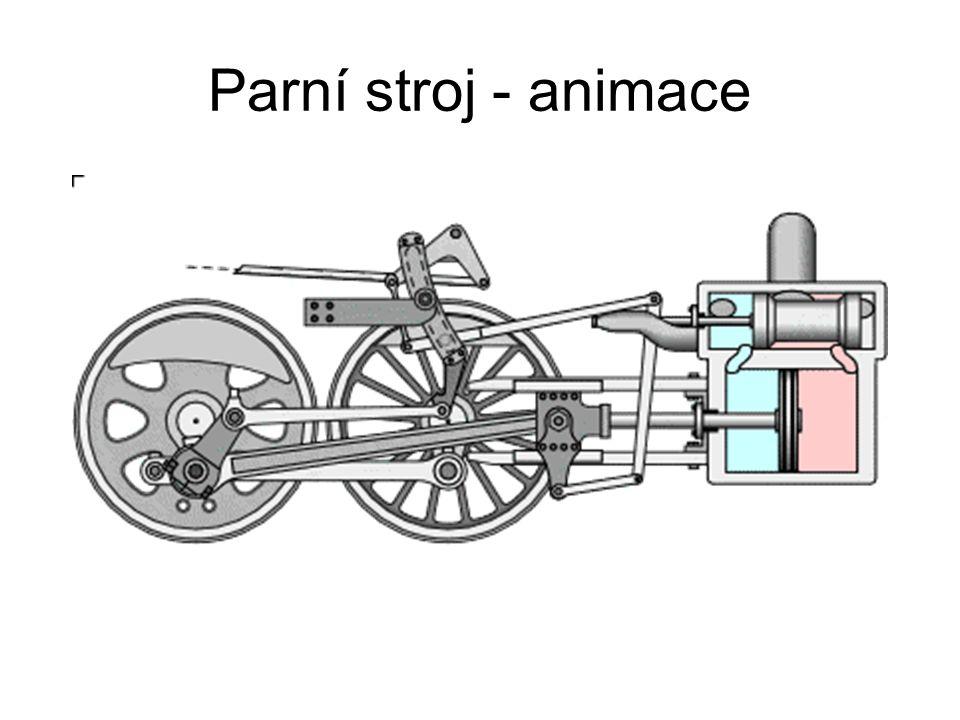 Parní stroj – popis práce Pára z kotle je přes regulátor vedena do šoupátkové komory a odtud je rozdělována do válce.