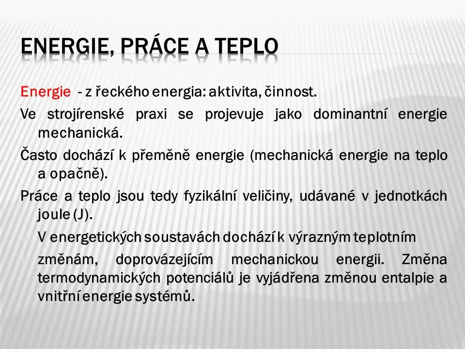 Energie - z řeckého energia: aktivita, činnost.