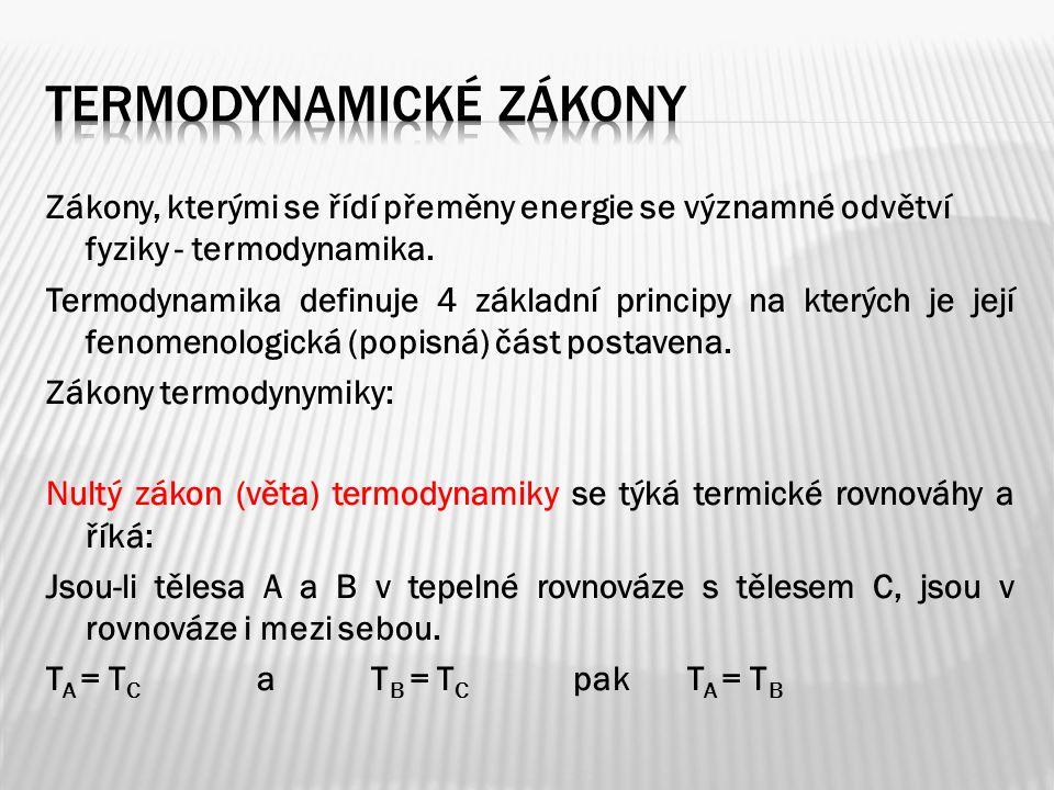 Zákony, kterými se řídí přeměny energie se významné odvětví fyziky - termodynamika.