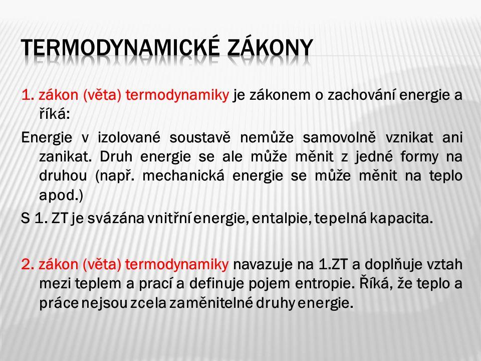1. zákon (věta) termodynamiky je zákonem o zachování energie a říká: Energie v izolované soustavě nemůže samovolně vznikat ani zanikat. Druh energie s